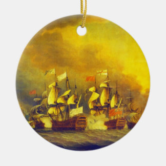 The Battle of the Saintes by Thomas Mitchell 1782 Double-Sided Ceramic Round Christmas Ornament