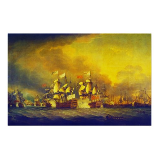 The Battle of the Saintes by Thomas Mitchell 1782 Posters