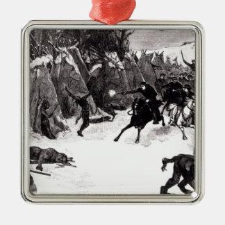 The Battle of the Washita Metal Ornament