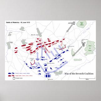 The Battle of Waterloo Strategic Map June 18 1815 Poster