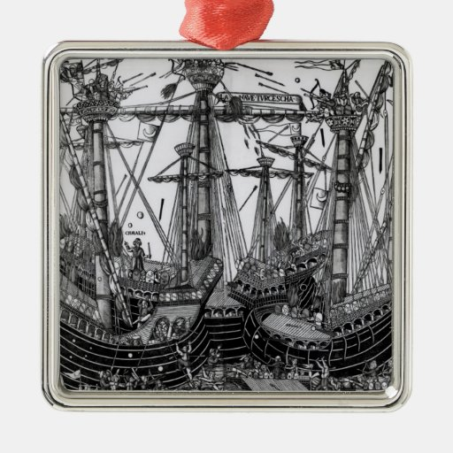 The Battle of Zonchio in 1499 Square Metal Christmas Ornament