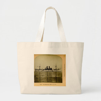 The Battleship Maine Vintage Stereoview Large Tote Bag