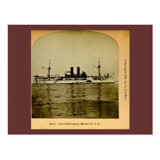 The Battleship Maine Vintage Stereoview Postcard