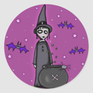 The Batty Witch Round Stickers