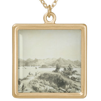 The Bay and Island of Hong Kong, plate 4 from 'Ske Square Pendant Necklace
