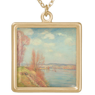The Bay and the River, 1901 (oil on canvas) Gold Plated Necklace