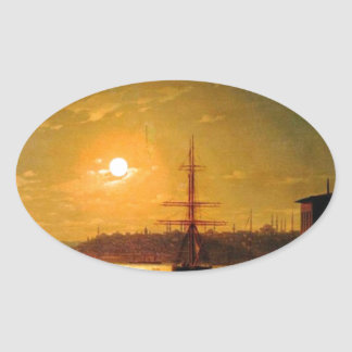The Bay Golden Horn by Ivan Aivazovsky Oval Sticker