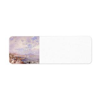 The Bay of Naples by Franz Richard Unterberger Custom Return Address Label