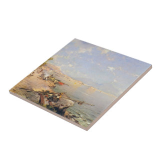 The Bay of Naples by Franz Richard Unterberger Tile