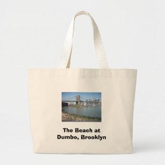 The Beach at Dumbo, Brooklyn Large Tote Bag
