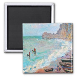 The Beach at Etretat Claude Monet 2 Inch Square Magnet