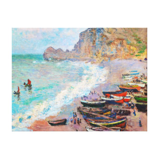 The Beach at Etretat Claude Monet Stretched Canvas Prints
