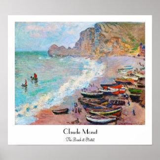 The Beach at Etretat Claude Monet Poster