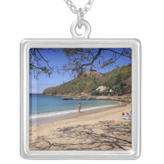 The beach at Pigeon Island National Park Silver Plated Necklace