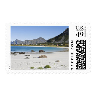 The beach at Ramberg is famous for its white Postage Stamp