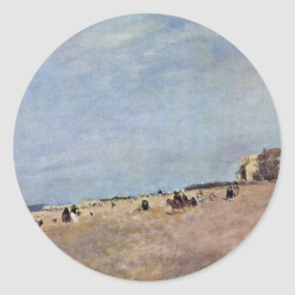 The Beach At Rhyl By Cox D. Ä. David Classic Round Sticker