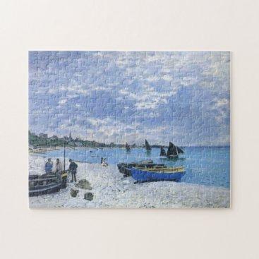 Beach Themed The Beach at Sainte-Adresse Monet Fine Art Jigsaw Puzzle