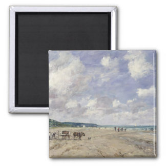 The Beach at Tourgeville, 1893 2 Inch Square Magnet