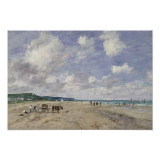 The Beach at Tourgeville 1893 Poster