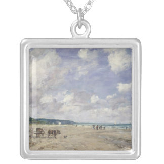The Beach at Tourgeville, 1893 Silver Plated Necklace