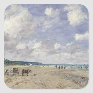 The Beach at Tourgeville 1893 Square Stickers