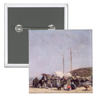 The Beach at Trouville, 1864 2 Inch Square Button