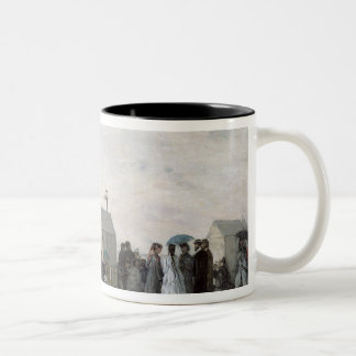 The Beach at Trouville, 1867 Two-Tone Coffee Mug