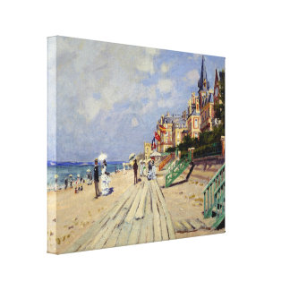 The Beach at Trouville - Claude Monet Stretched Canvas Print