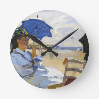 The Beach at Trouville Claude Monet Round Clock