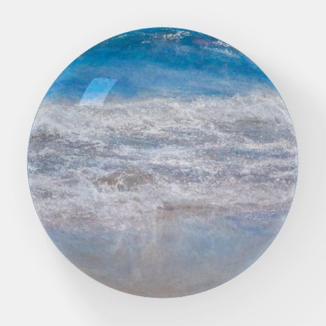 The Beach Blue White Water Ocean Photo Art Paperweight