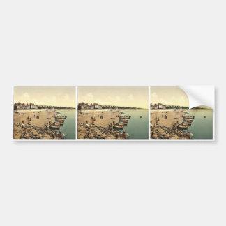 The beach, Exmouth, England rare Photochrom Car Bumper Sticker