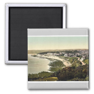 The beach, Falmouth, Cornwall, England vintage Pho 2 Inch Square Magnet
