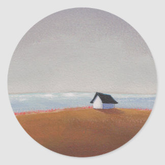 The Beach House - pretty seaside landscape art Classic Round Sticker