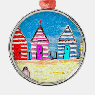 The Beach Huts Round Metal Christmas Ornament