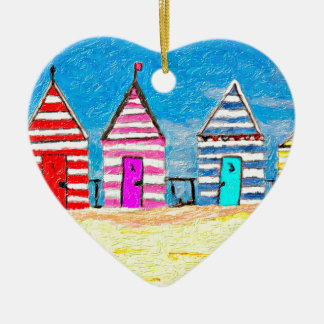The Beach Huts Double-Sided Heart Ceramic Christmas Ornament
