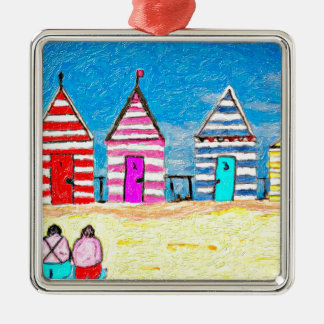 The Beach Huts Square Metal Christmas Ornament