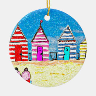 The Beach Huts Double-Sided Ceramic Round Christmas Ornament