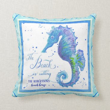 Beach Themed The Beach is Calling Seahorse Coastal Ocean Sea Throw Pillow