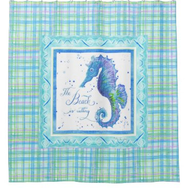 Beach Themed The Beach is Calling Seahorse Ocean Bathroom Decor Shower Curtain
