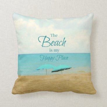 Beach Themed THE BEACH IS MY HAPPY PLACE PHOTO PILLOW