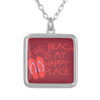 The Beach Is My Happy Place Silver Plated Necklace