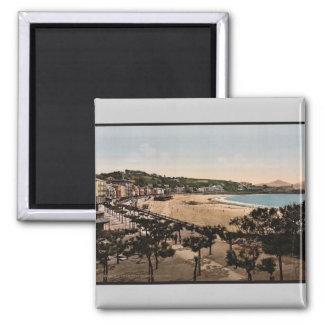 The beach, San Sebastian, Spain vintage Photochrom 2 Inch Square Magnet