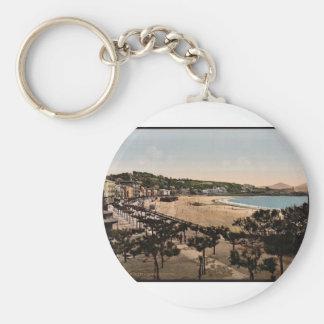 The beach, San Sebastian, Spain vintage Photochrom Keychain