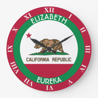 The Bear California Personalized Flag Large Clock