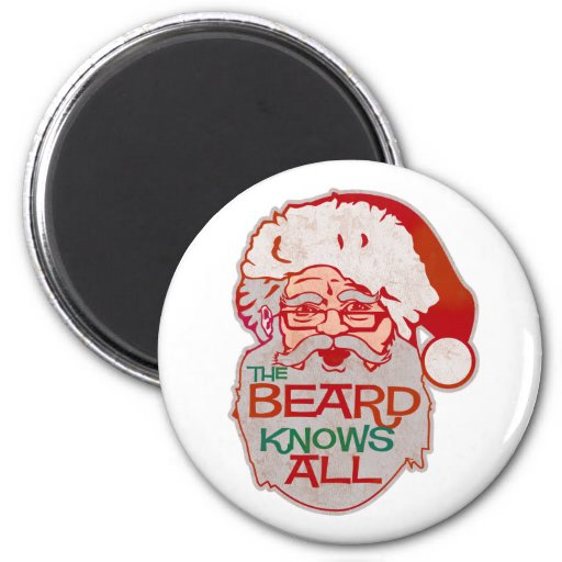 the beard knows all 2 inch round magnet