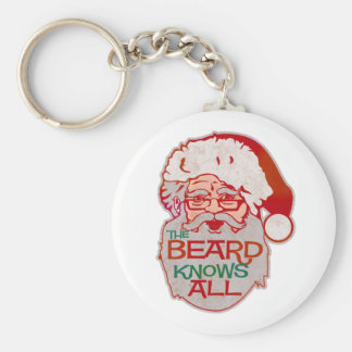 the beard knows all basic round button keychain