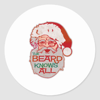 the beard knows all classic round sticker