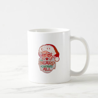 the beard knows all classic white coffee mug