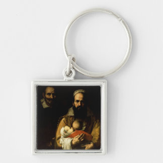 The Bearded Woman Breastfeeding, 1631 Silver-Colored Square Keychain
