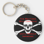 The Beatings Will Continue Untill Morale Improves Basic Round Button Keychain